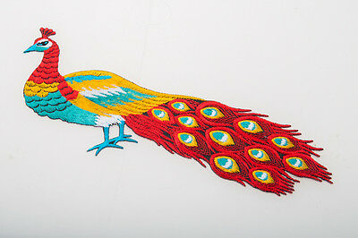 Hand Craft Peacock Patterned Crewel Embroidery Kit Red Peafowl Needle Work Decor