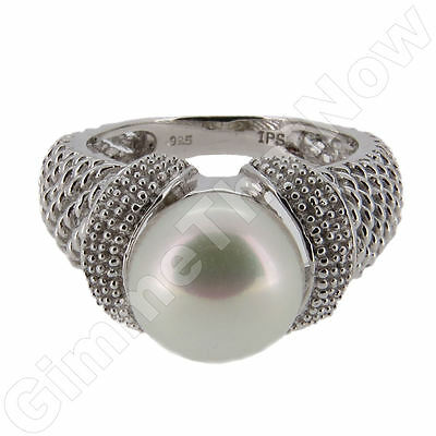 Sterling Silver Ring with Freshwater Pearl Size N
