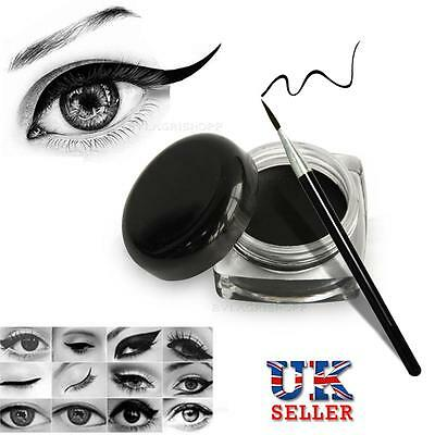 Top Waterproof Eye Liner Eyeliner Black Shadow Gel Eyeliner Cosmetic + Brush