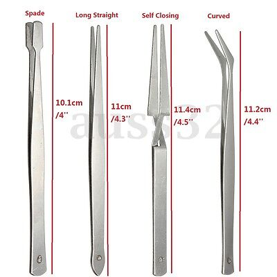 4x Stainless Steel Tweezers Set Nipper Tool for Crafts Electonic Jewelry Nail