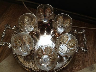 Vintage  Silver Plated  Tray With Small Glass Cup