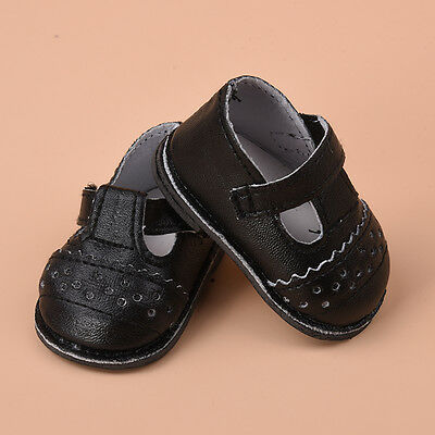 1Pair Handmade Fashion Black PU Shoes Clothes For 16 inch Doll Toy Shoes Gifts