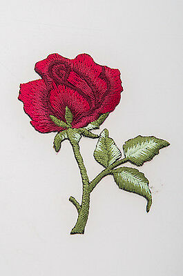 Crewel Embroidered Single Red Rose Patterned Needlework Fabric Flower Art Decor