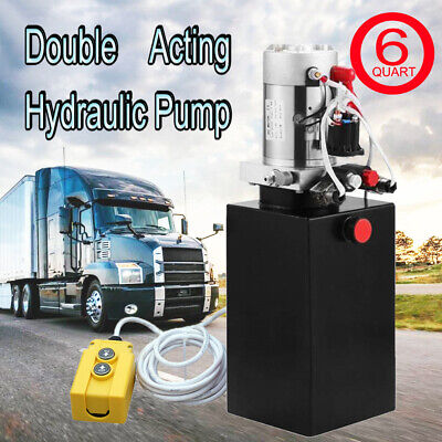 12V DC 6 Quart Double-Acting Hydraulic Pump-Dump Trailer 3 Reservoirs for Crane