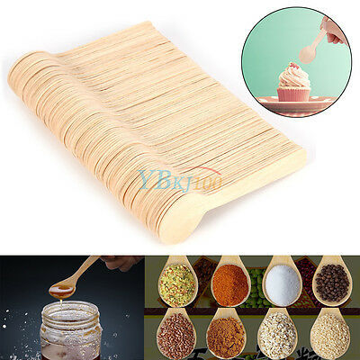 100Pcs Disposable Wooden Spoon Lot Taster Spoons Ice Cream Tasting Sample Spoon