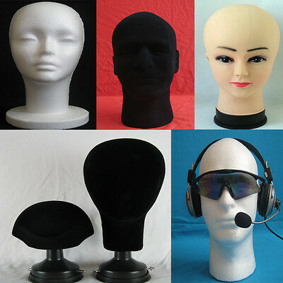 Male Female Mannequin Canvas Block Head Bust Wig Glasses Hat Scarf Display Stand