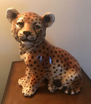 Beautiful Large  Leopard Cub Sitting Up Figurine Made Italy  11""