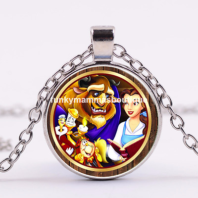 Beauty And The Beast Glass Pendant Lumiere Cogsworth Clock Necklace In Gift Bag