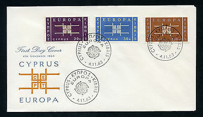 "Cyprus 1963 ""Europa"" complete set of 3 on FIRST DAY COVER. SG 234-236."