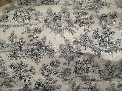 Antique Vintage French Style French Toile de Jouy Cotton Fabric Romance