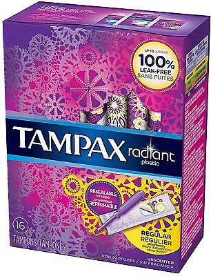 Tampax Radiant Plastic Unscented Tampons, Regular Absorbency, 16 ea (Pack of 2)