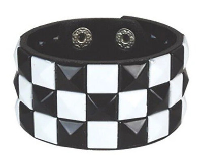 White & Black Checked Studded Wristband Pyramid Stud Cuff Checkered