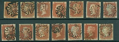SG 8 1841 1d Reds canceled with maltese crosses x 14, Full margins fine used
