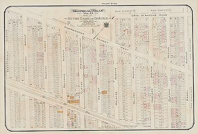 1913, Montreal Canadian Pacific Railway Cote St - Antoine Road Goad Atlas Map