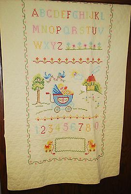Vintage Cross Stitch ABC's Sampler Baby Crib Blanket Quilt 56x36 Yellow Boy Girl