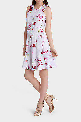 NEW Tokito Collection Lace Trim Insert Spliced Fit & Flare Dress Pink