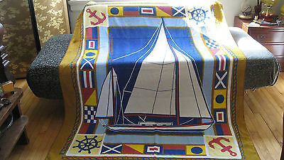 Vintage Extra Large Nautical Sailboat Beach Towel Blanket Cottage Sherry Mfg Co