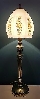 Antique C1920 Edwardian Ornate Brass Table Lamp. Fully Rewired & PAT Tested