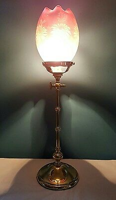 Antique Edwardian c1920 Edwardian Brass Table Lamp. Cranberry Etched Shade.