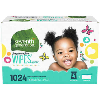 Seventh Generation Fragrance Free Baby Wipes Refill Kit 1,024 count NEW!