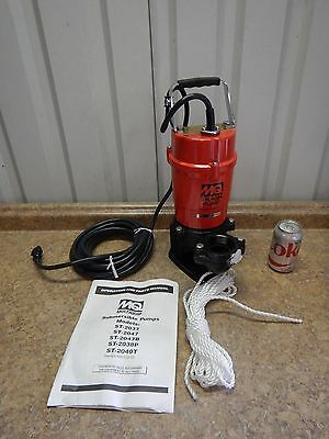 "NEW Multiquip ST-2040T Submersible Trash Sump Pump 79 GPM 2"" Discharge 2/3, 1 HP"