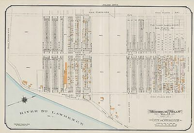 1913, Charles E. Goad, Montreal, Canada, River St. Lawrence, Copy Plat Atlas Map