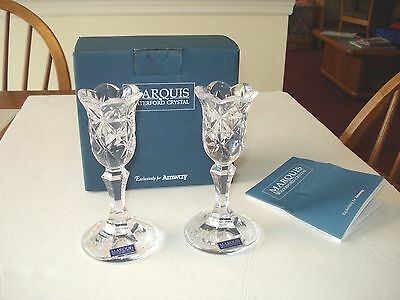 Marquis by Waterford Crystal Amway Diamond Collection Pair Candle Sticks NEW NIB