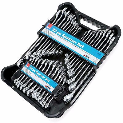 32pc Spanner Set Combination AF/Metric Stubby Polished Ring Spanners 12 Point