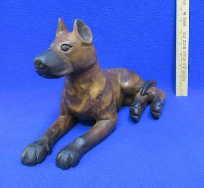 Doberman Dog Figurine Statue Wood Carving Wooden Pinscher Puppy Laying Down