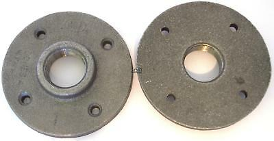 "2pc 1"" Threaded Pipe Flange Malleable Cast Iron Fitting Tube Wall Floor Mount"