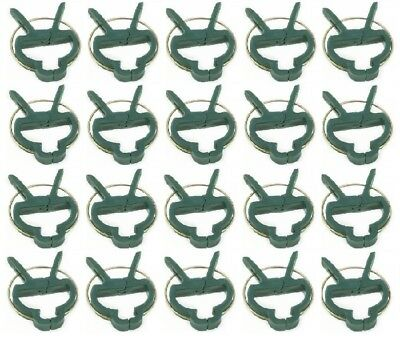 New  Plastic Garden Plant To Cane Support Sprung Clips Reusable Ties Freepost