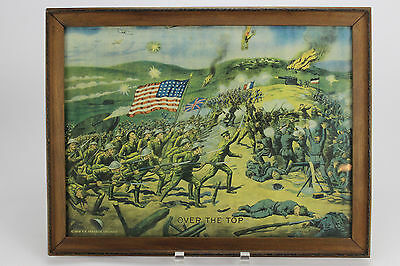 "Vintage WWI Print ""OVER THE TOP""  Lithograph c.1918, E.G Renesch, Chicago/Framed"