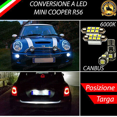Luci Posizione A Led + Luci Targa A Led Canbus Mini Cooper R56 No Error