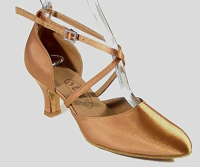 """708103 2.2"""" Heel US-Size-9 Stained Tan Satin Ladies Ballroom Smooth Dance Shoes"""