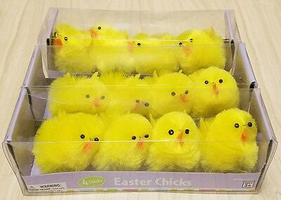 "12 Amscan Yellow Chenille Easter Chicks 2"" tall"