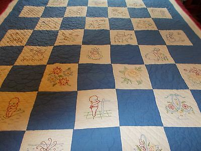 """Vintage Blue & White Cotton Quilt Assorted Embroidery Blocks  78"""" x 64"""""""