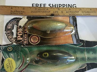 LOT OF 2 Poe's Cedar Wood Jackpot SMALL Series 1300 FISHING LURE TOPWATER NEW