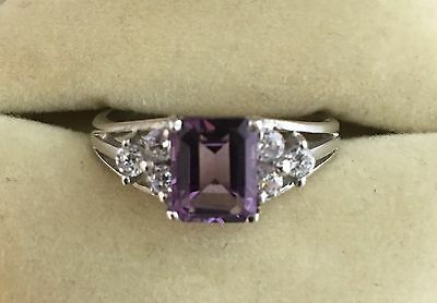 Beautiful Vintage Silver Amethyst And Crystal Ring