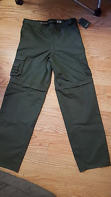 Boy Scouts Of America Uniform Pants, Size Youth 22 Olive Green Canvas Zip-Off