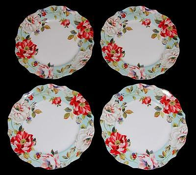 4 ORIANA TEAL Shabby Bright Spring Floral 222 Fifth Scalloped Dinner Plates NIB