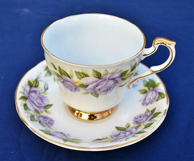 Vintage PARAGON Bone China England 6 World Famous Roses BLUE MOON Cup & Saucer