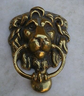 Vintage Reclaimed Brass Lions Head Door Knocker~Original Patina