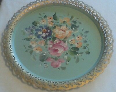 Vintage Nashco Toleware Tray, Pastel Green, Hand Painted Flowers, Scalloped Edge