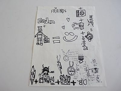 New Found Glory 2002 Original Set List W/ Real Jordan Pundik Sketches Doodles
