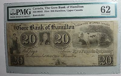 1837 $20 The Gore Bank of Hamilton Remainder