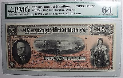 1892 $10 Bank of Hamilton Specimen