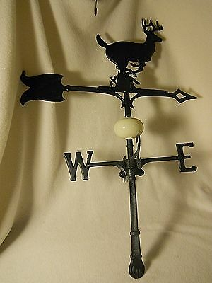 Vintage Metal Weather Vane-Running Stag w Arrow-Glass Ball & Directional Letters