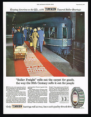 1954 New York Central 20th Century Limited Train Timken Bearing Vintage Print Ad