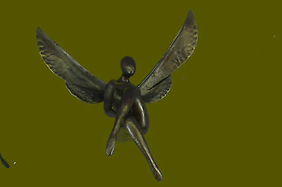 Bronze Nude Winged Female Statue Nike Victory Angel Sculpture Art Deco Nouveau