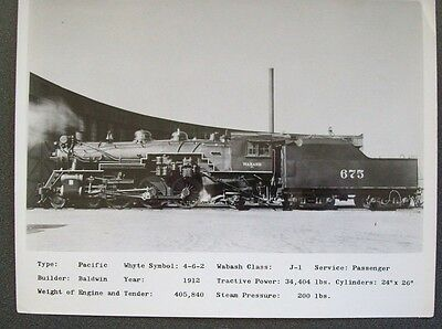 Wabash Railroad 4-6-2 #675 - 8X10 B&w Photo With Specifications